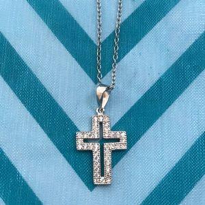 Sterling 925/ rhodium cz cross